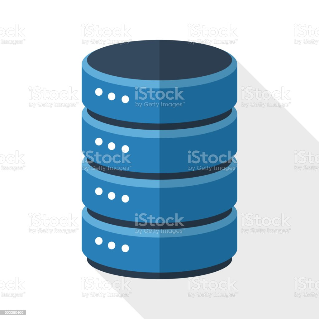 Data storage icon with long shadow on white background vector art illustration