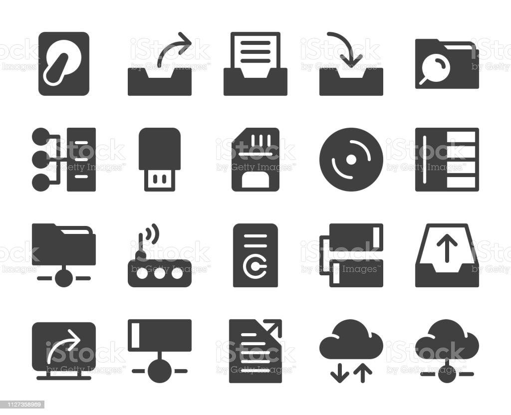 Data Storage - Icons vector art illustration