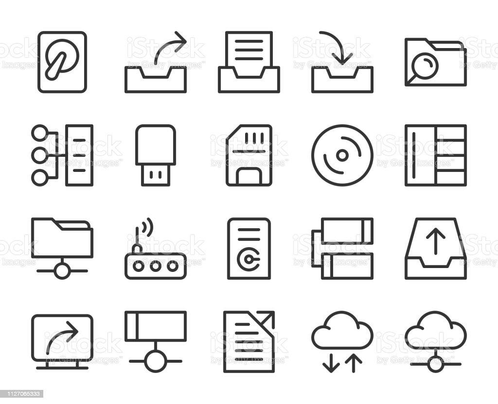 Data Storage - Line Icons vector art illustration