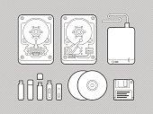 A set of flat design-styled data storage media. EPS 10 file, layered & grouped,