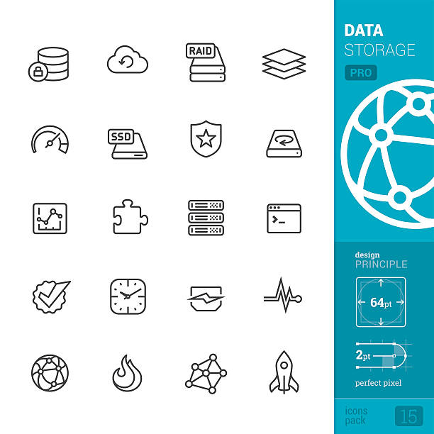 Data storage related vector icons - PRO pack 20 Data storage Linear style vector icons pack. external hard disk drive stock illustrations