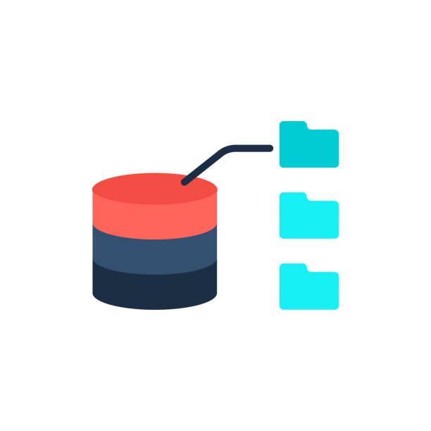 Datenspeicherung mit Dateien. – Vektorgrafik