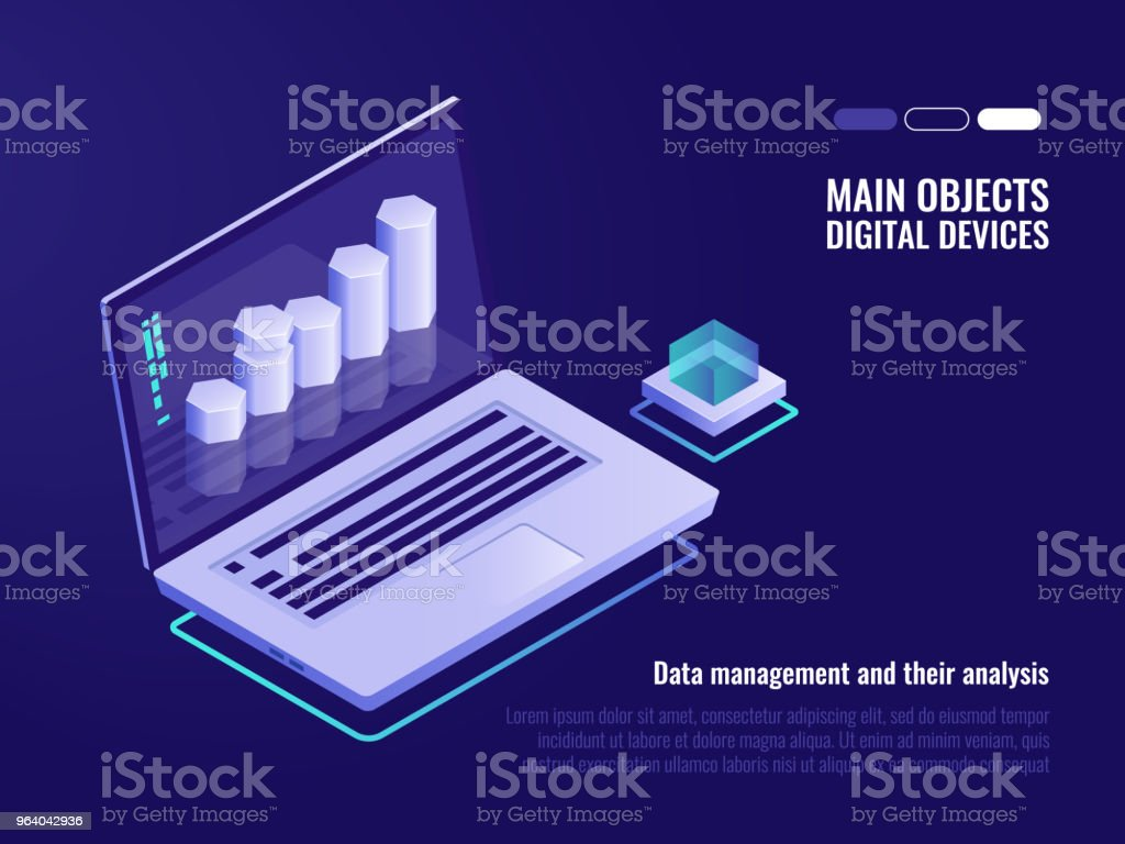 Data structuring and analysis, crm system concept, information processing and statistic, isometric laptop vector illustration - Royalty-free Accountancy stock vector
