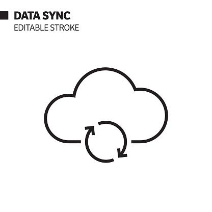 Data Sync Line Icon, Outline Vector Symbol Illustration. Pixel Perfect, Editable Stroke.