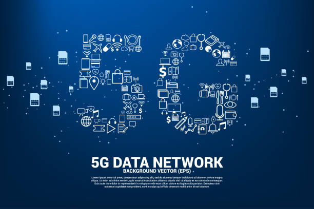 5G Data technology from online function icon. vector art illustration