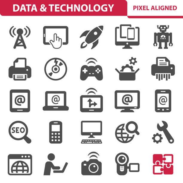 Data & Technology Icons Professional, pixel perfect icons, EPS 10 format. desktop pc stock illustrations