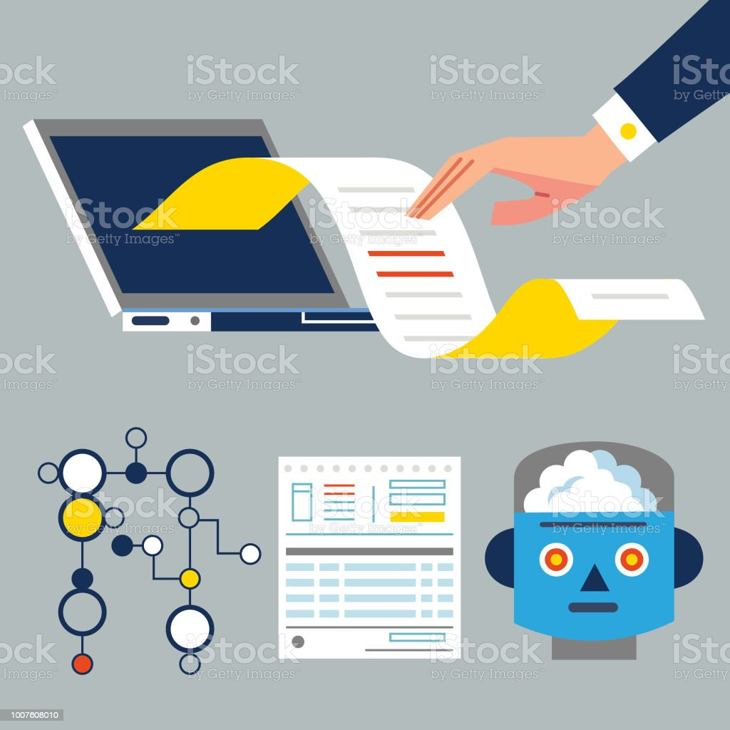 Data theft, algorithms and Ai vector art illustration