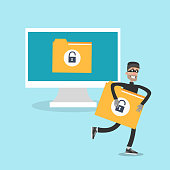 Data thief illustration. Man grabbing and runnig with data document.