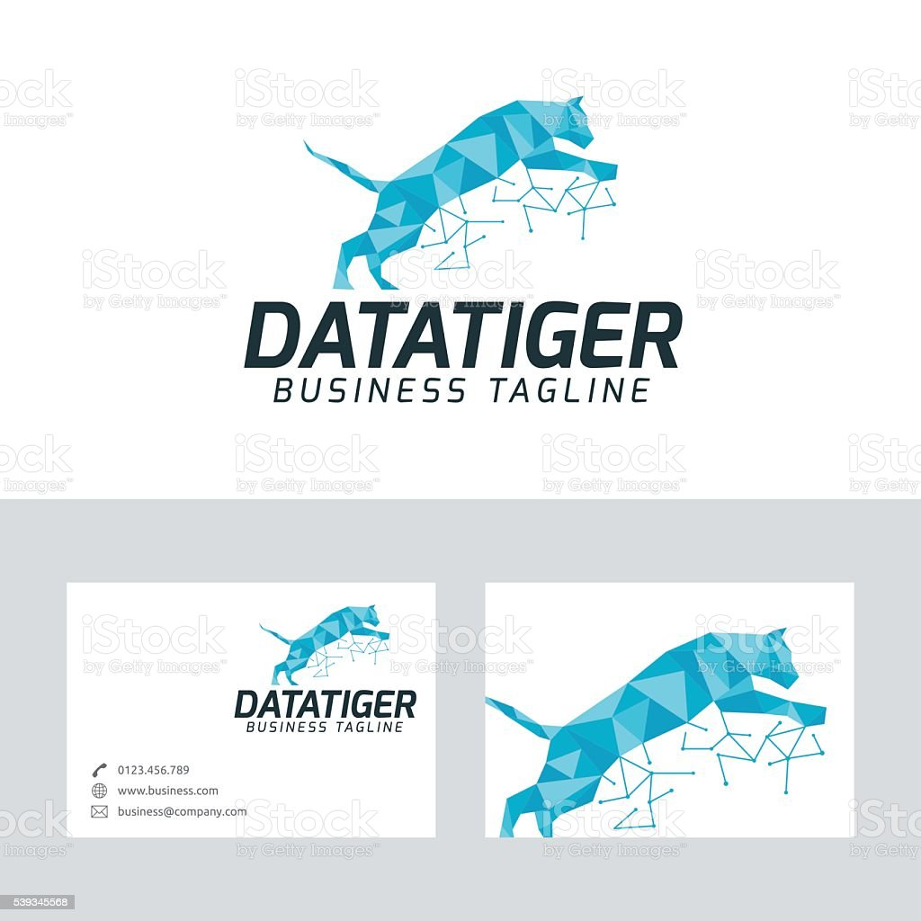 data tiger vector logo with business card template stock vector