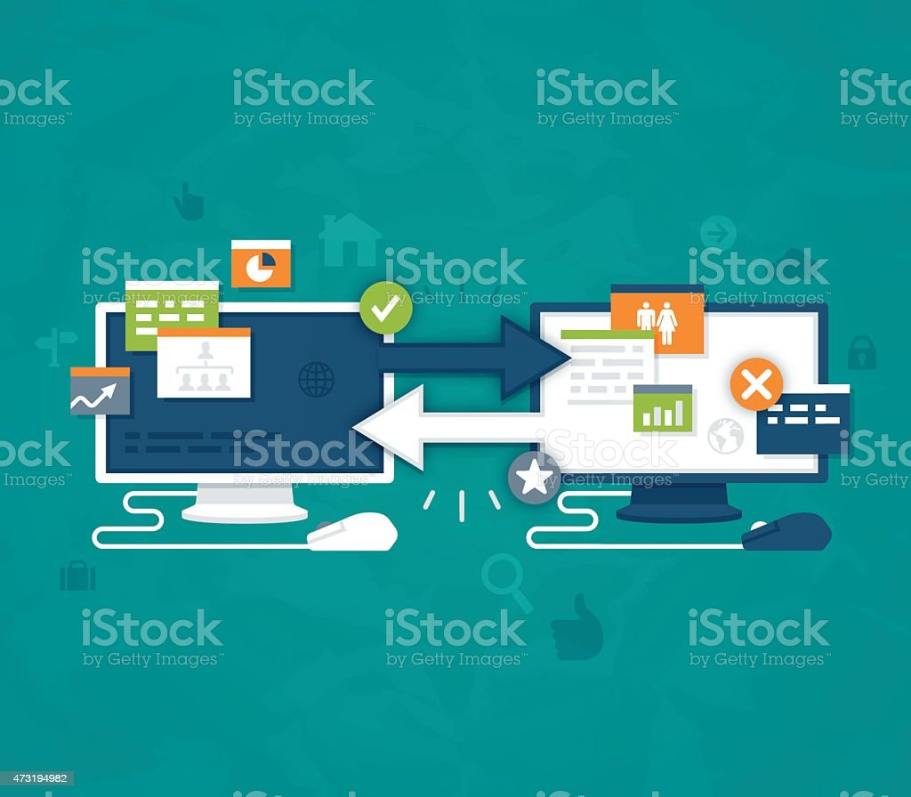 Data Transfer and Connection Concept vector art illustration