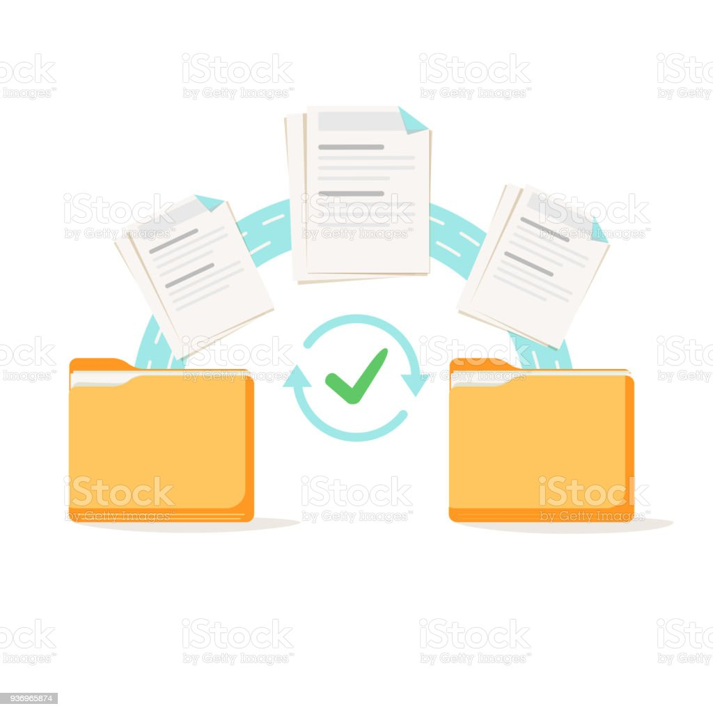 Data transfer, copying, uploading process, file sharing or sending documents from one file folder to another vector art illustration