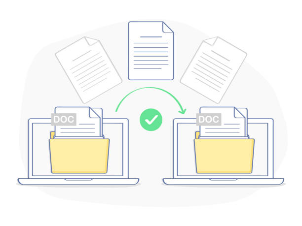 Data transfer, copying, uploading process, file sharing Data transfer, copying, uploading process, file sharing or sending documents from one laptop to another. Flat outline isolated vector illustration on white background. Modern trendy ui element design. transfer image stock illustrations