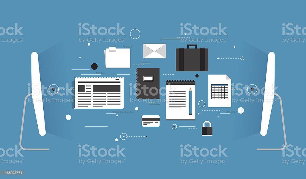 Data transfer flat illustration vector art illustration