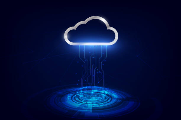 stockillustraties, clipart, cartoons en iconen met data-overdracht naar cloud-technologie data-opslag, futuristische van data-overdracht, online data-opslag technologie. vector illustratie - cloud computing