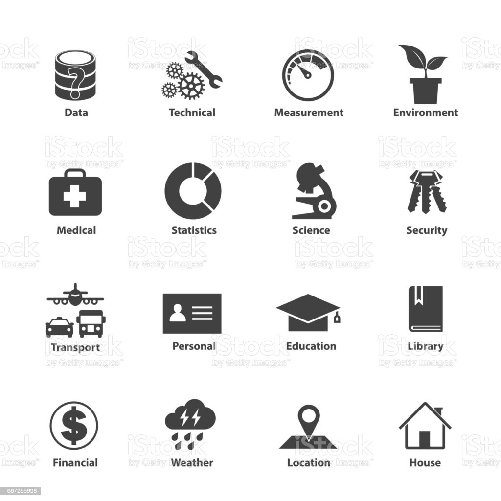 Data Type Icon Set Different Kinds Of Data - かんなのベクター ...