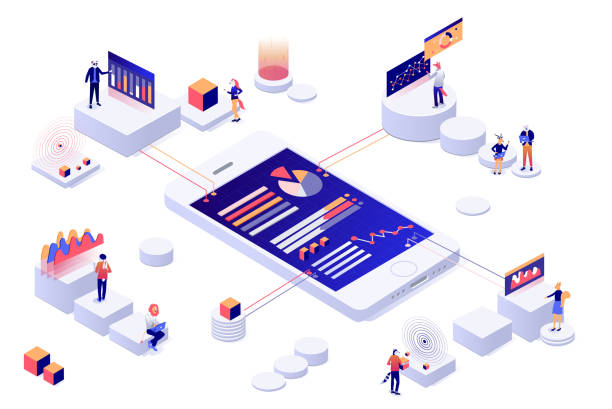 data visualization 3d isometric concept.  people interacting with charts and analyzing statistics vector - сбор stock illustrations