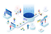 Data visualization illustration vector concept. People interacting with charts and analyzing statistics on 3d isometric.