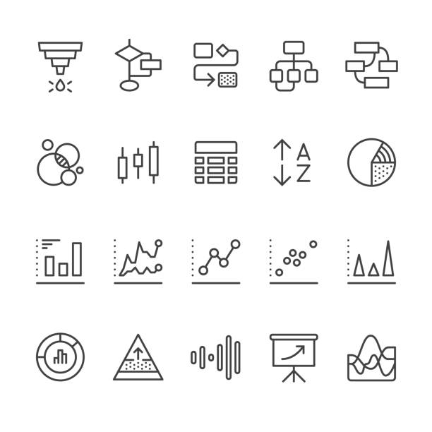 Data Visualization vector icons Chart Types & Data Visualization related vector icons. gantt chart stock illustrations