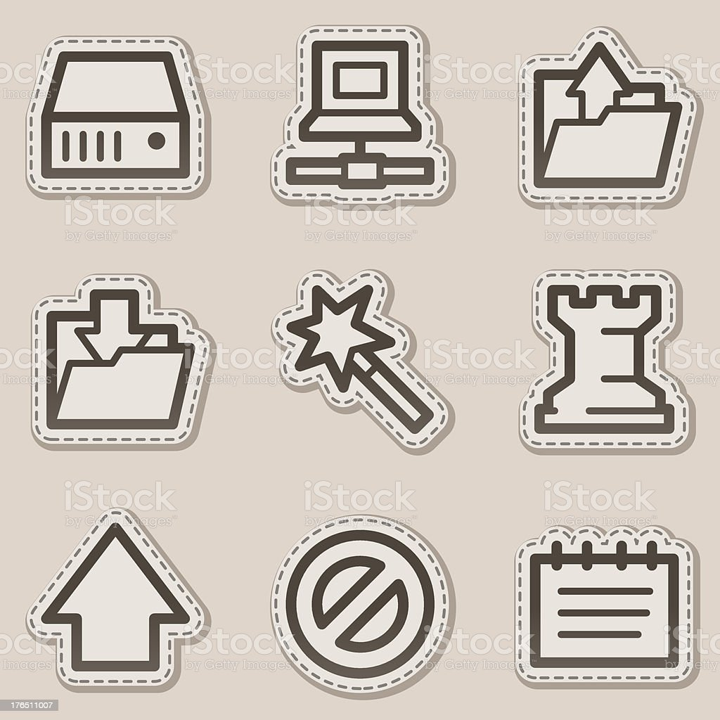 Data web icons, brown contour sticker series royalty-free stock vector art