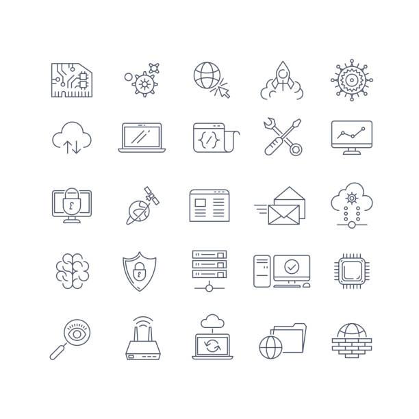 illustrazioni stock, clip art, cartoni animati e icone di tendenza di database analisi e il il cloud computing vettoriale icone linea - uniforme