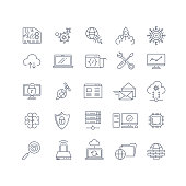 Database analytics and cloud computing vector line icons