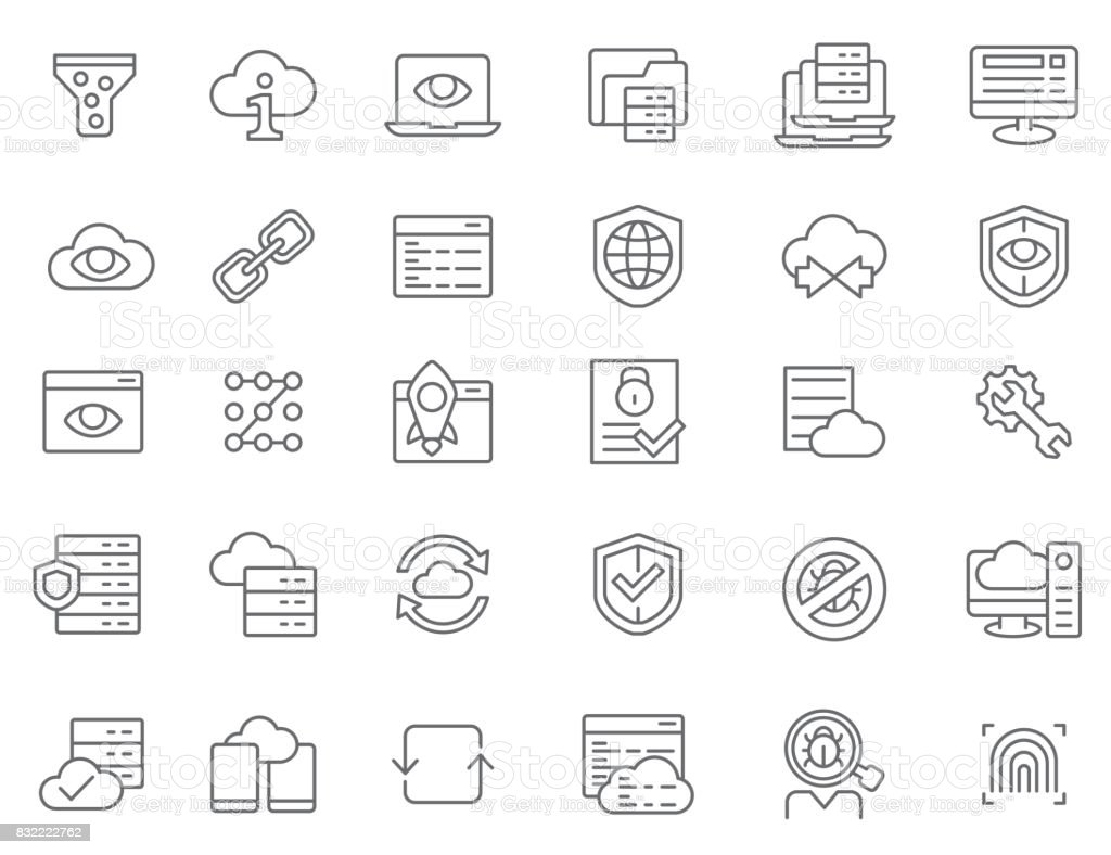 Database and security icon set vector art illustration