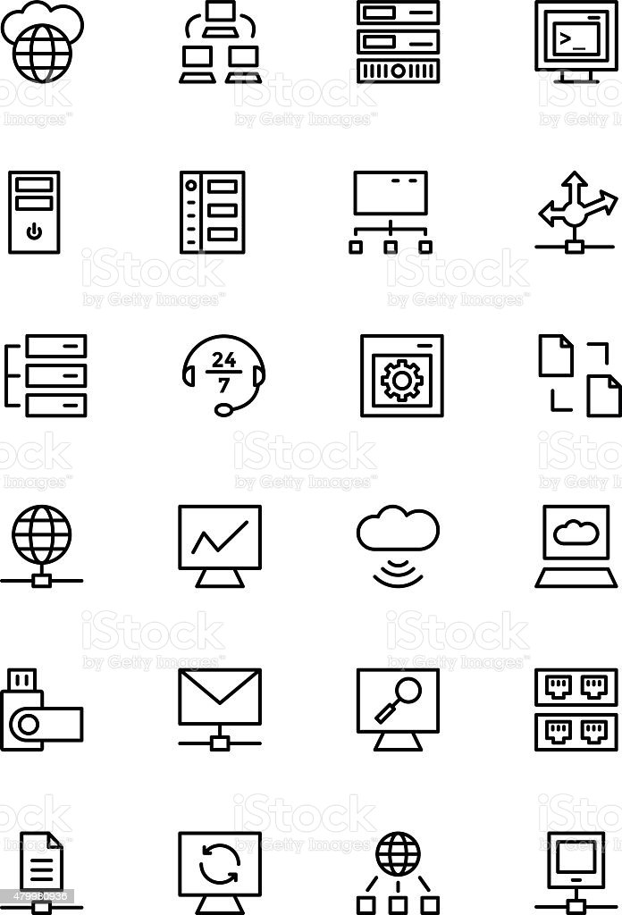 Database and Server Line Vector Icons 3 vector art illustration