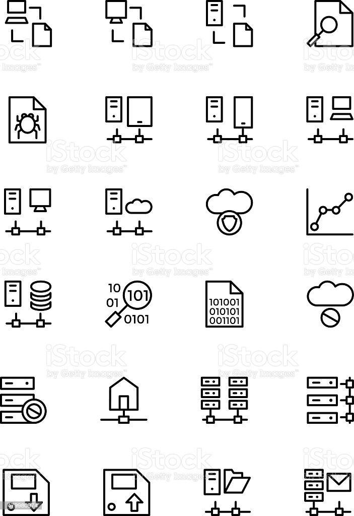 Database and Server Line Vector Icons 5 vector art illustration