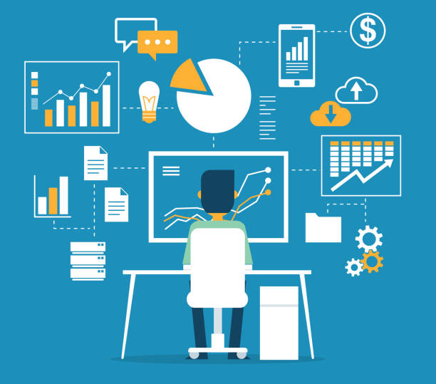Database - Businessman Data monitoring and analysis man on computer stock illustrations