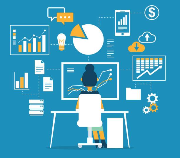 Database - Businesswoman vector art illustration