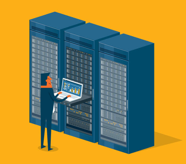 database center - businessman - computer server room stock illustrations
