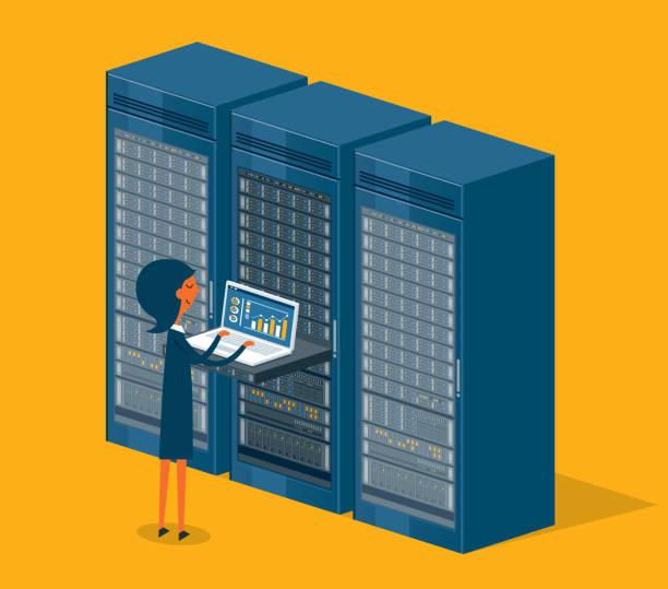database center - businesswoman - computer server room stock illustrations