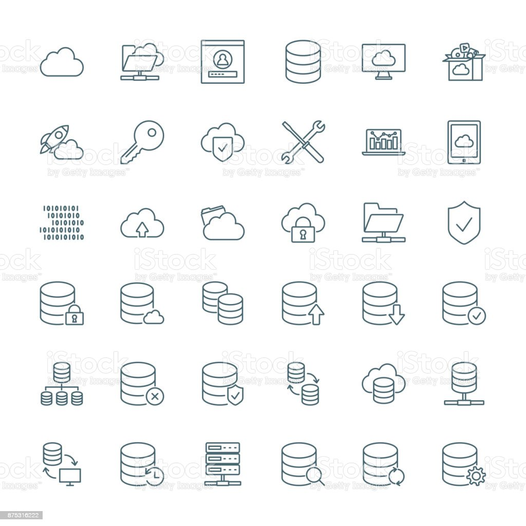 Database, cloud computing, network vector icons set vector art illustration