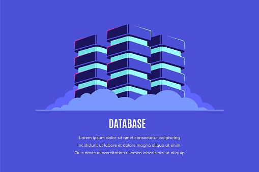 Database concept banner design, Flat style vector