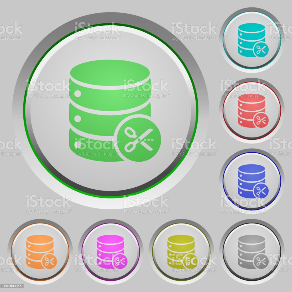 Database cut push buttons vector art illustration