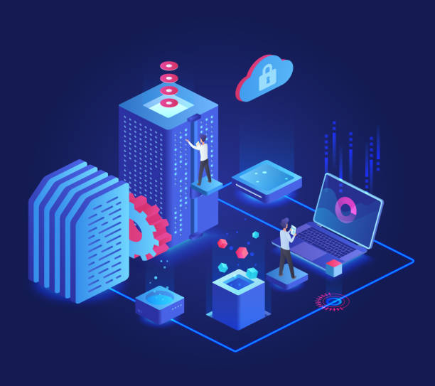 Database dark neon isometric vector illustration Database dark neon isometric vector illustration. Online server maintenance team. Service administration group. Futuristic cyberspace technology. Cloud datacenter cartoon conceptual design element administrate stock illustrations