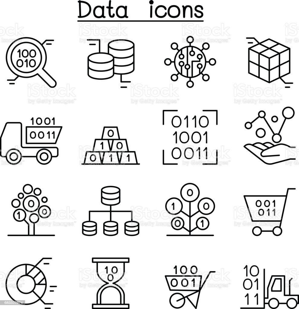 Databas, Data & graf Ikonuppsättning i tunn linjestil royaltyfri databas data graf ikonuppsättning i tunn linjestil-vektorgrafik och fler bilder på analysera
