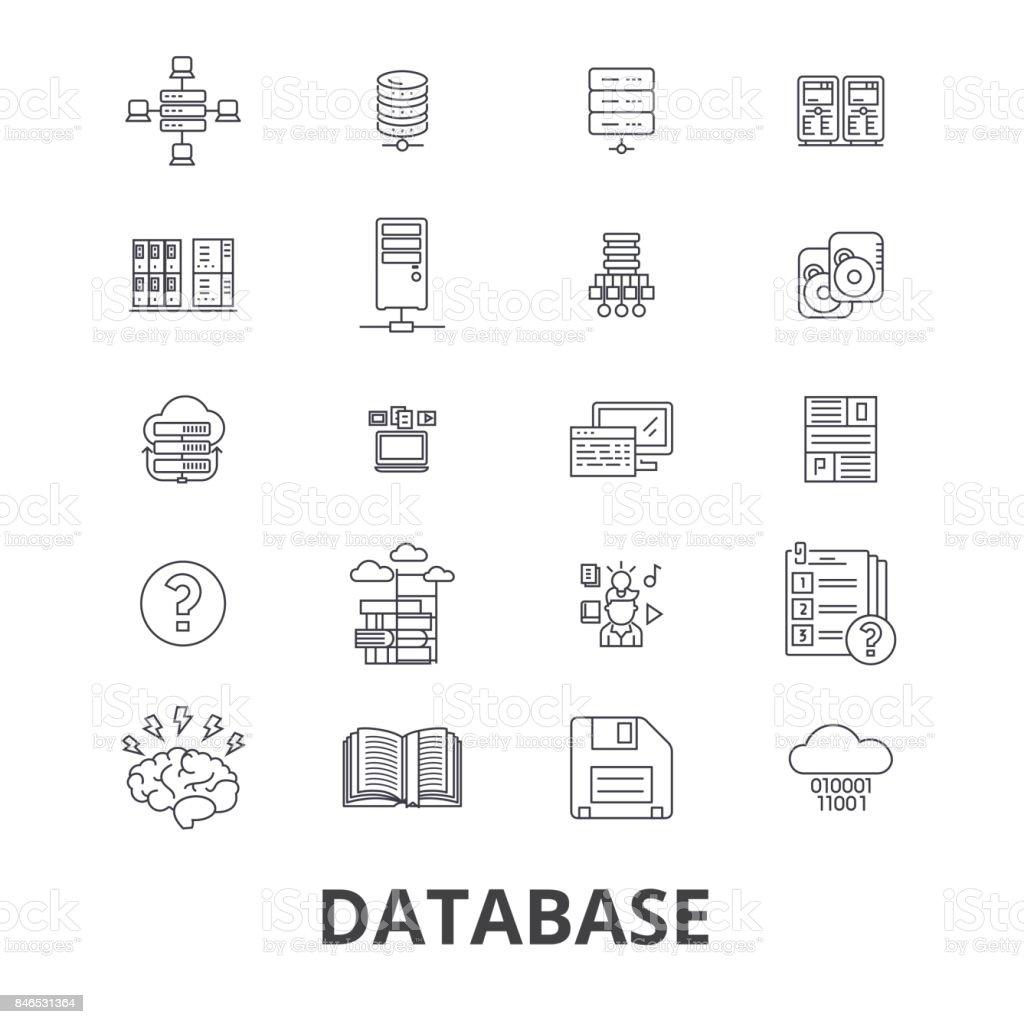 Database, data management, hosting, technology, db, server, storage, backup line icons. Editable strokes. Flat design vector illustration symbol concept. Linear isolated signs vector art illustration