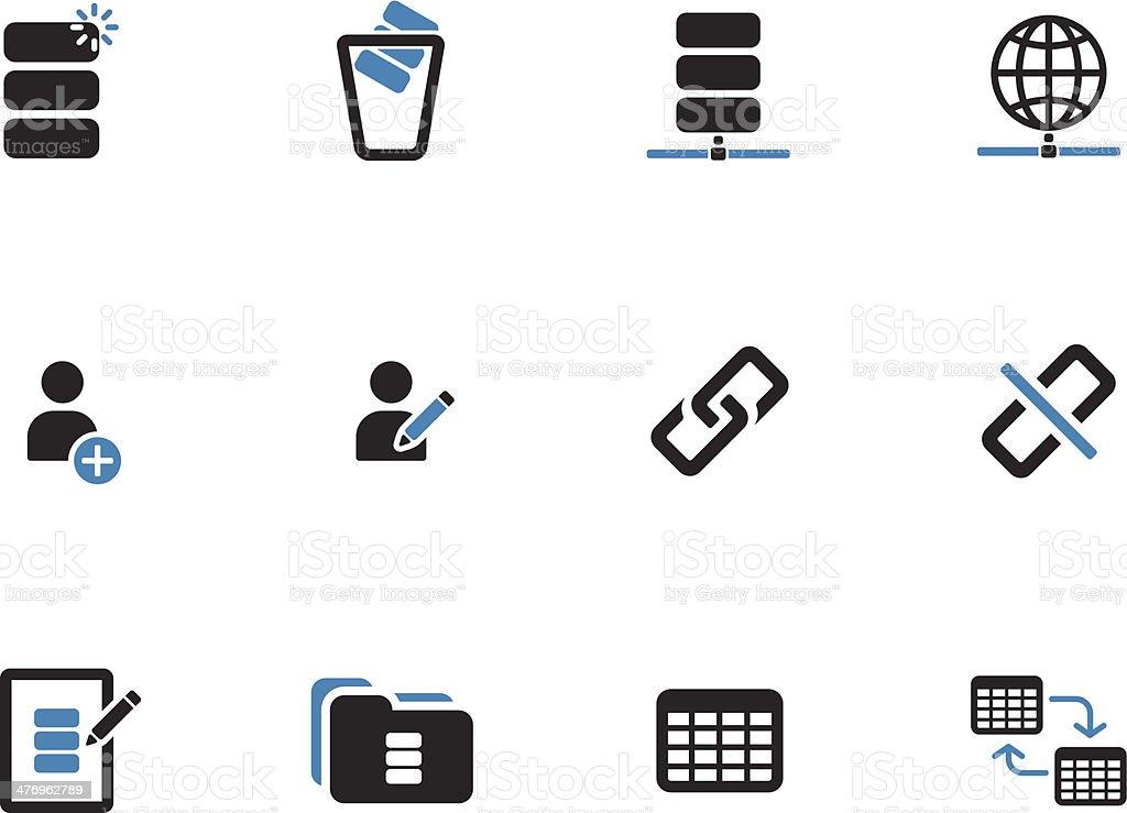 Database duotone icons on white background. vector art illustration
