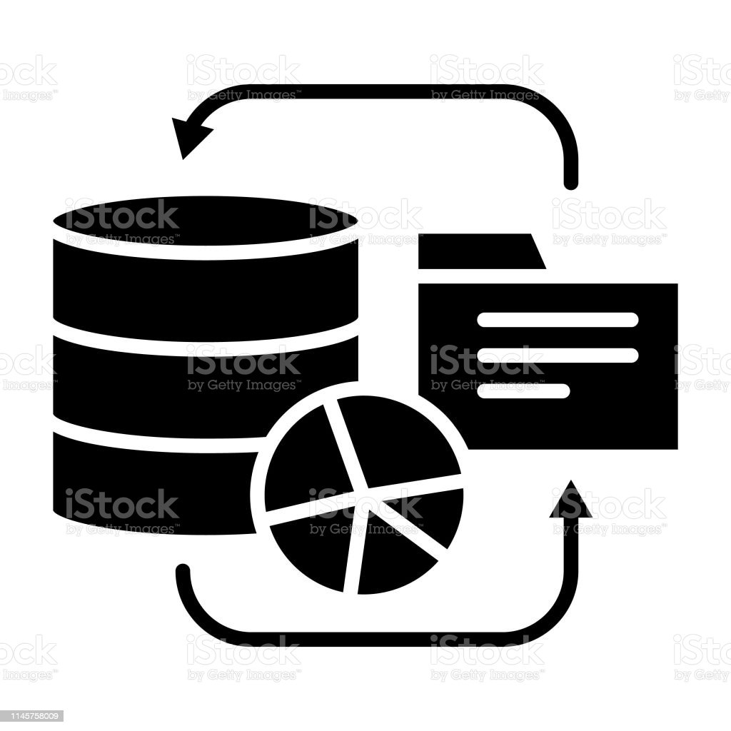 Database Icon Vector Illustration Technology Glyph Stock