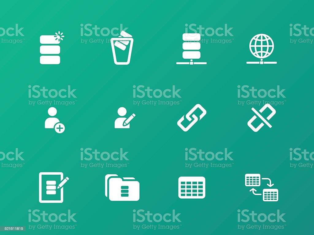 Database icons on green background. vector art illustration