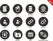 Database icons on white background
