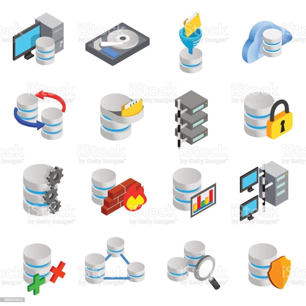 Database icons set vector art illustration