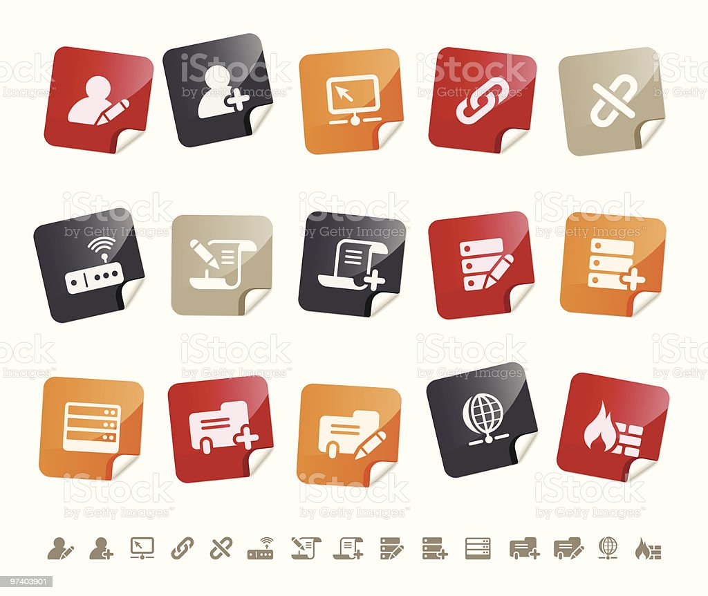 Database icons Í Sticky series royalty-free database icons Í sticky series stock vector art & more images of arrangement