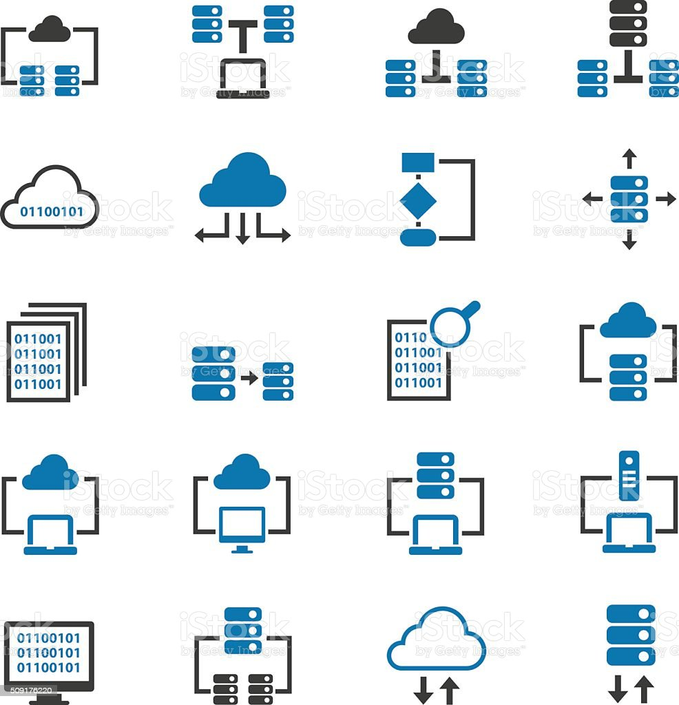 Database icons vector art illustration