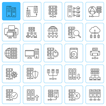 Database line icons. Editable stroke.