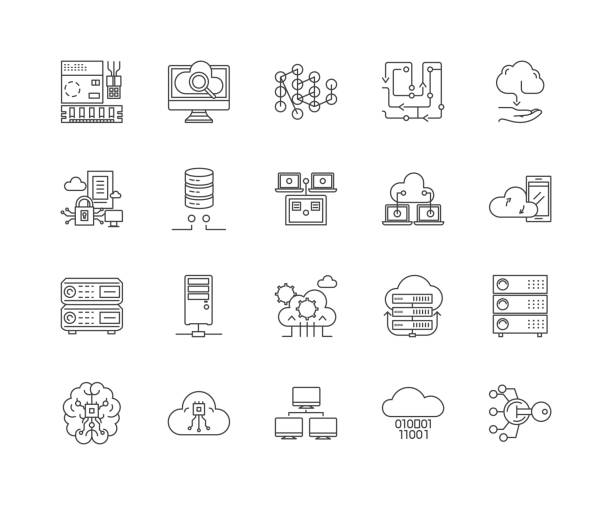 Database line icons, signs, vector set, outline illustration concept Database line icons, linear signs, vector set, outline concept illustration military base stock illustrations