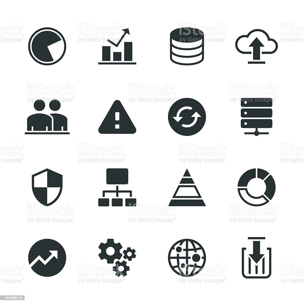 Database Management Silhouette Icons vector art illustration