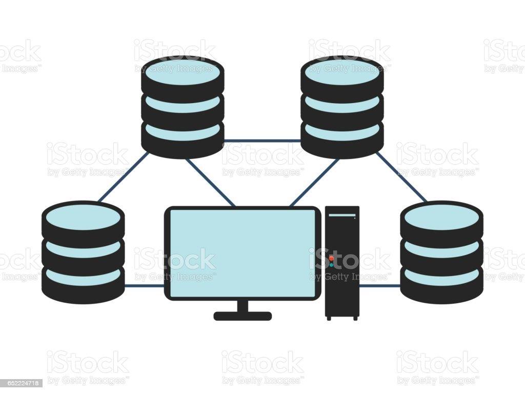 Database network icon. Flat Vector illustration on white background. vector art illustration