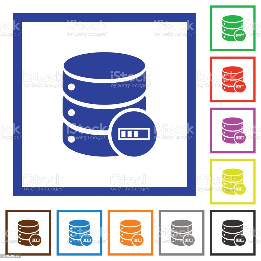 Database processing flat framed icons royalty-free database processing flat framed icons stock vector art & more images of applying
